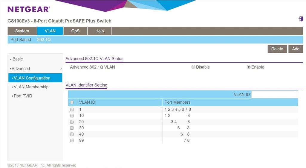 GS108Ev3 802.1Q assignments