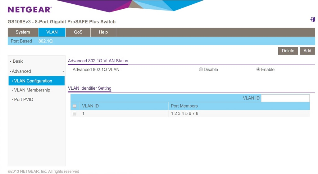 GS108Ev3 802.1Q enabled