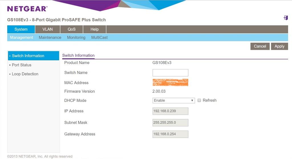 GS108Ev3 main page