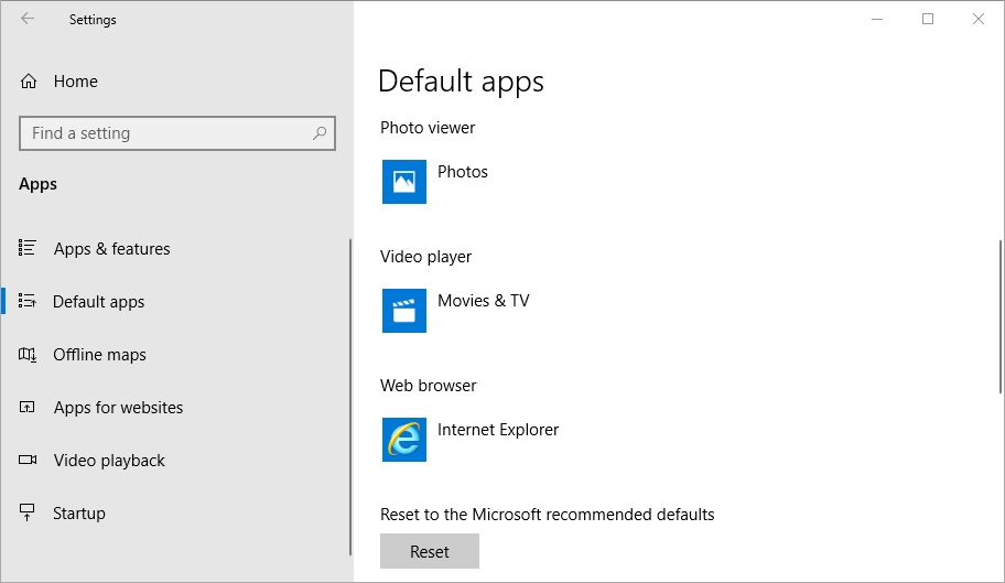set Internet explorer as default browser