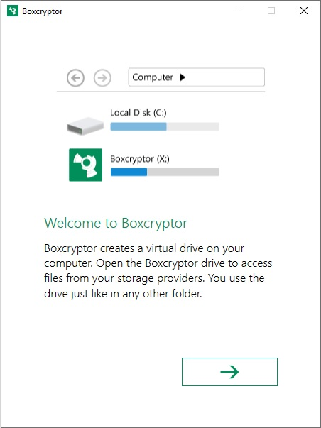 Boxcryptor welcome screen