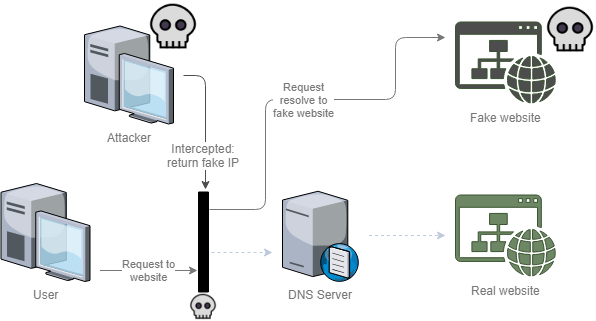 DNS man-in-the-middle attack