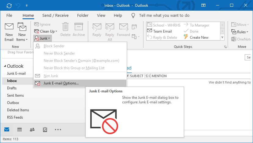 Outlook junk email options