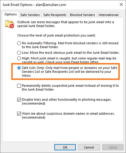 Outlook Safe Lists Only