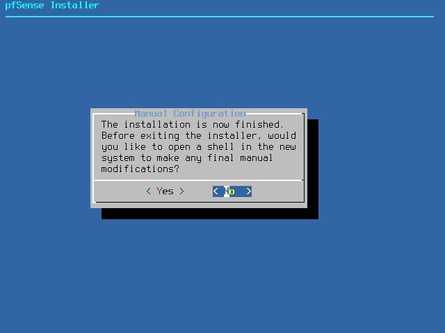 pfSense install complete