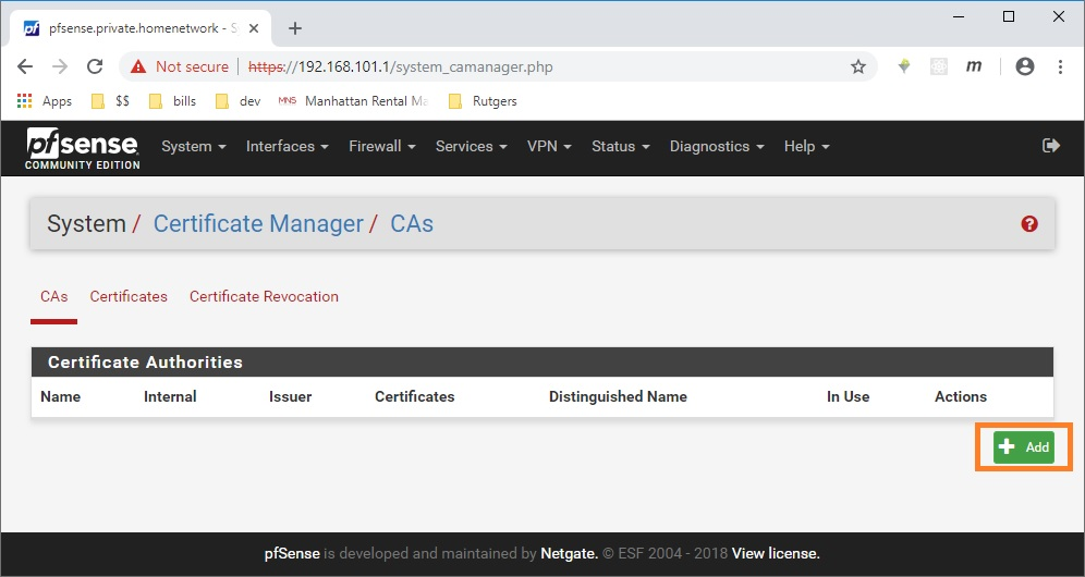 pfsense add certificate authority