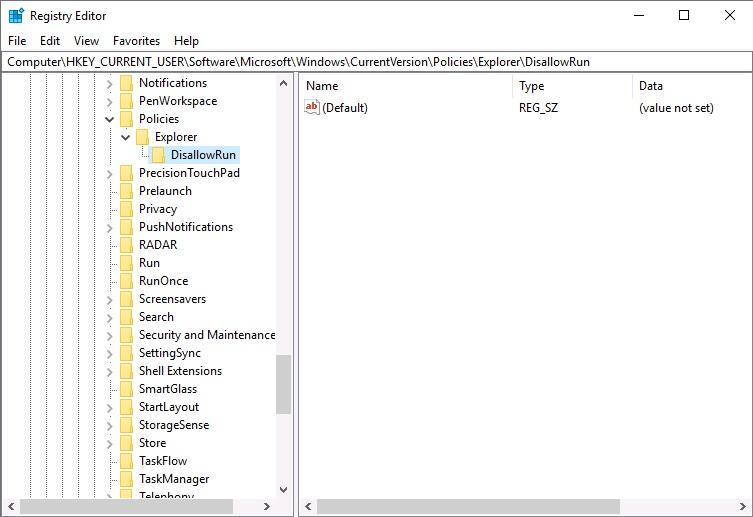 registry adds DisallowRun key