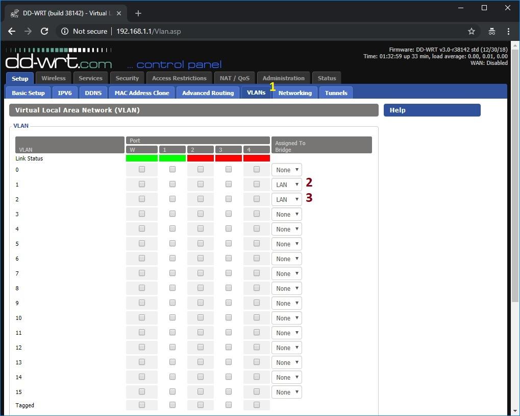 clear VLAN 1 & 2 default port assignments