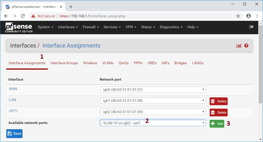 create Network Interface from VLAN