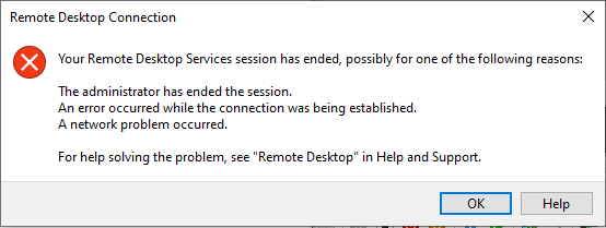 remote desktop failed