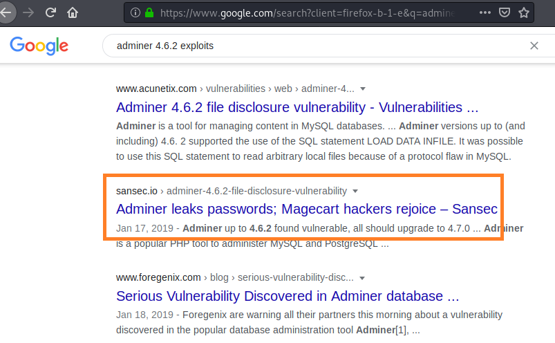 adminer vulnerability