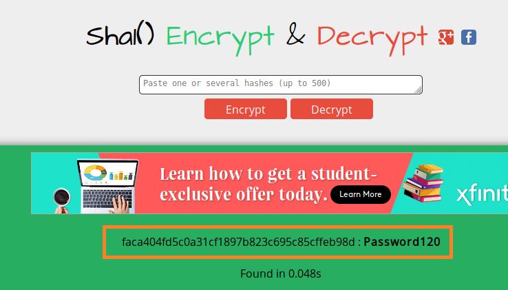 sha1 decrypted